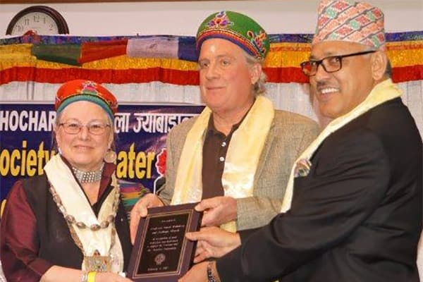 Professors March and Holmberg with Hon. Dr. Arjun Kumar Karki, Nepalese Ambassador to the U.S.